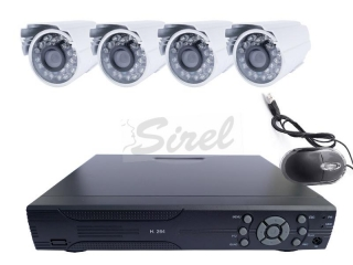 R8 Securityset 4x kamera + 4-CH DVR-1008H, HDMI