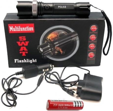 SWAT POLICE LED xenon-taktická nabíjateľná policajná baterka +1 akumulátor Flash