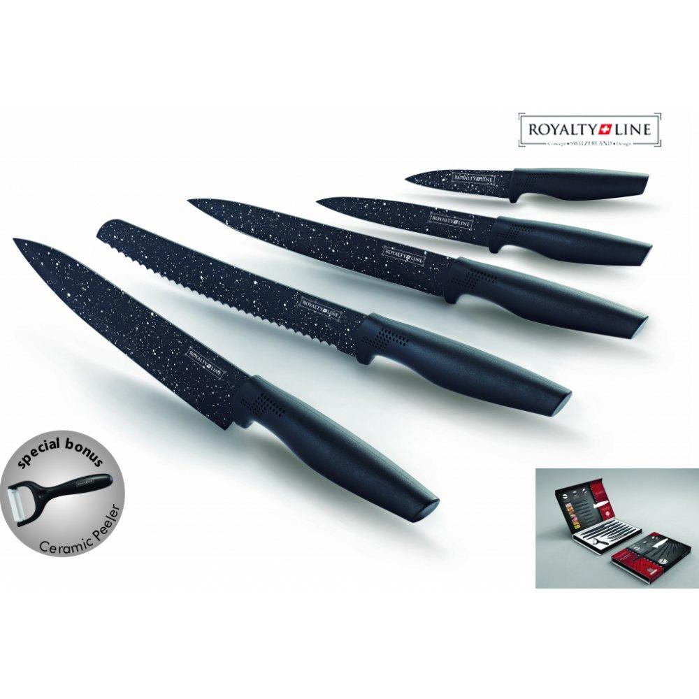 Royalty Line RL-MB5 6-dielna sada nožov Granit s keramickou škrabkou
