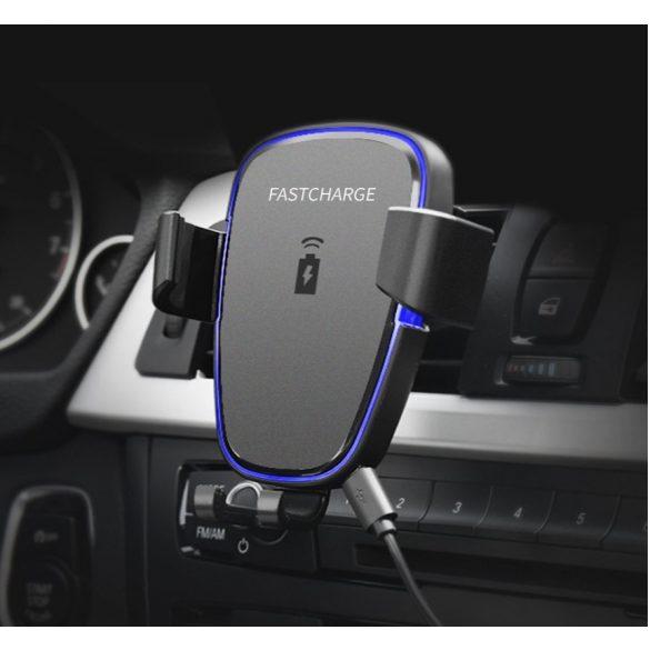 R8 CCC29 Držiak s bezdrôtovým nabíjaním do auta čierny