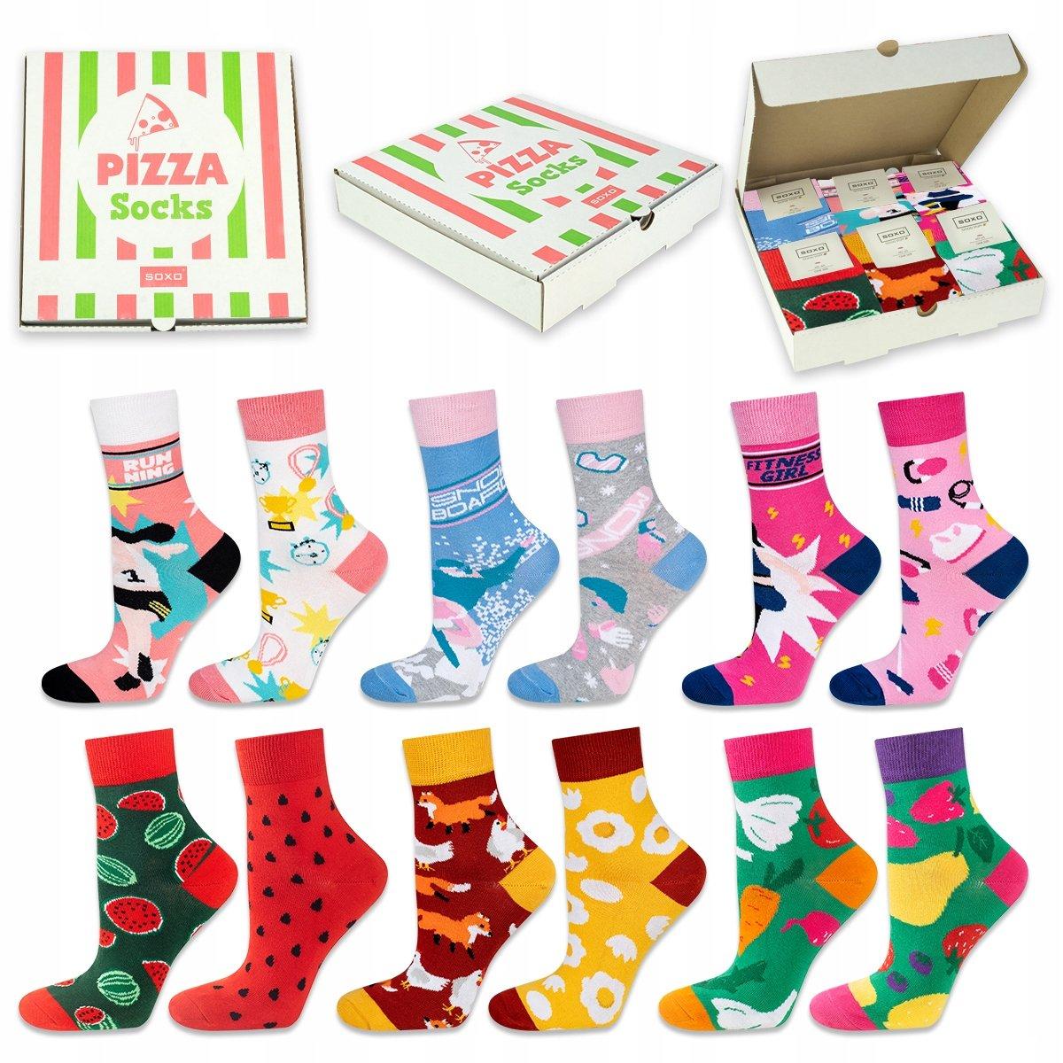 SOXO Pizza socks ženské 6KS