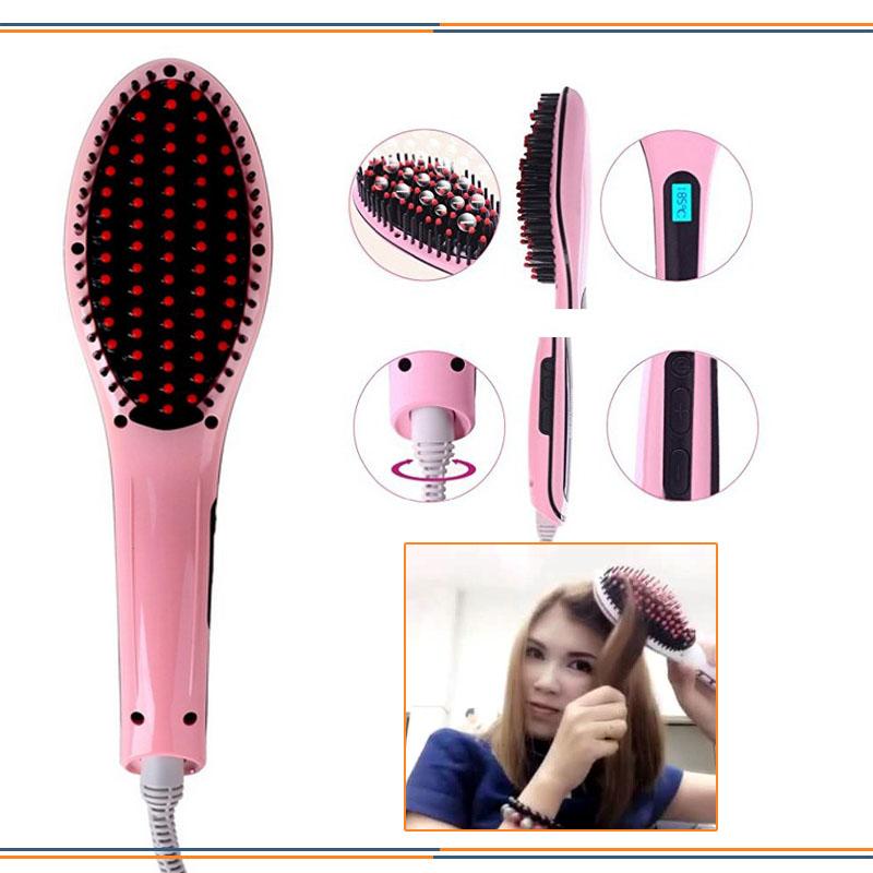 Elektrická kefa na vyrovnanie a úpravu vlasov s LCD displejom
